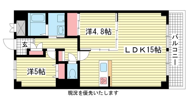 物件番号: 1025833373 ワコーレアルテ中山手  神戸市中央区中山手通3丁目 3LDK マンション 間取り図