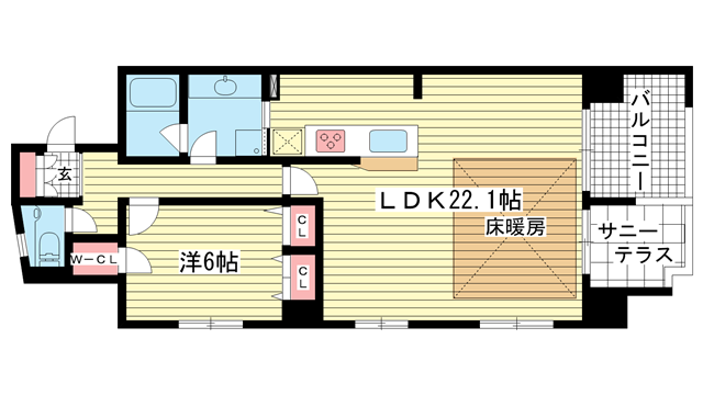 物件番号: 1025833401 エスコートみなと元町海岸通  神戸市中央区海岸通5丁目 1LDK マンション 間取り図