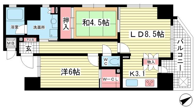 物件番号: 1025833432 アーバネックス元町通  神戸市中央区元町通6丁目 2LDK マンション 間取り図