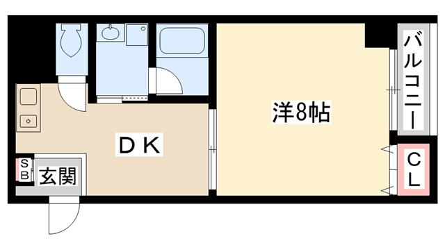 物件番号: 1025833511 プレサンス神戸メリケンパーク前  神戸市中央区海岸通4丁目 1DK マンション 間取り図