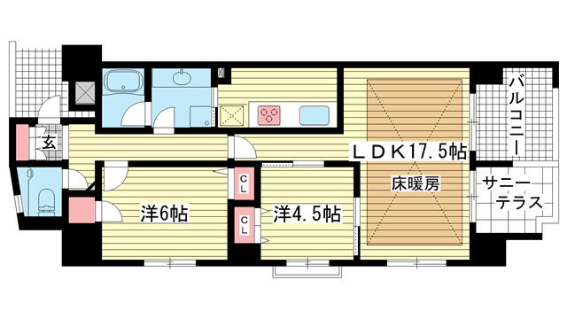 物件番号: 1025833800 エスコートみなと元町海岸通  神戸市中央区海岸通5丁目 2LDK マンション 間取り図