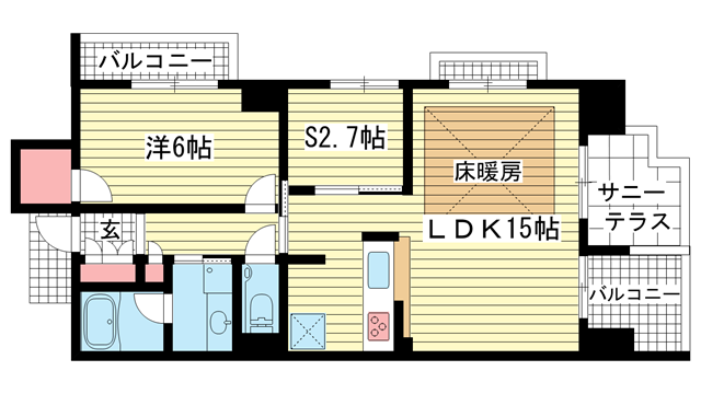 物件番号: 1025833808 エスコートみなと元町海岸通  神戸市中央区海岸通5丁目 1SLDK マンション 間取り図