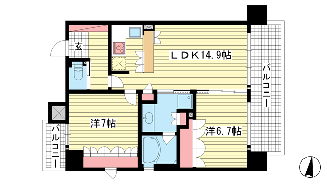 物件番号: 1025834062 リーガル神戸三宮  神戸市中央区磯辺通3丁目 2LDK マンション 間取り図