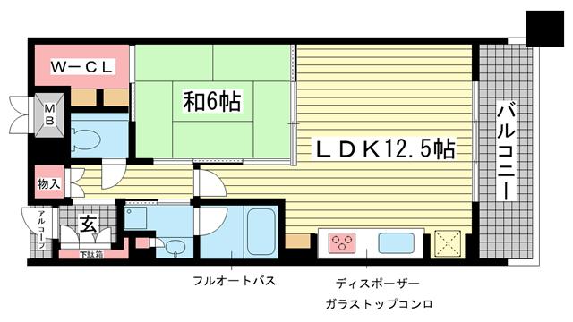 物件番号: 1025834368 トア山手 ザ・神戸タワー  神戸市中央区中山手通3丁目 1SLDK マンション 間取り図
