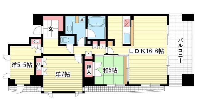 物件番号: 1025834428 アーバネックス三宮磯辺通  神戸市中央区磯辺通1丁目 3LDK マンション 間取り図