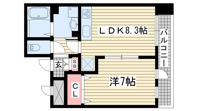 物件番号: 1025834866 ルミエール オクティア  神戸市中央区元町通3丁目 1LDK マンション 間取り図