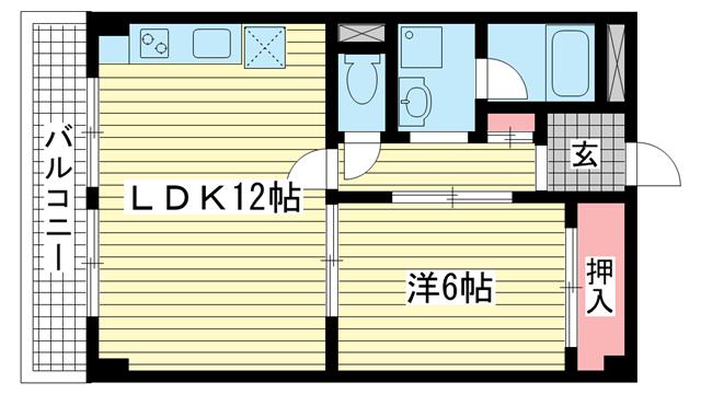 物件番号: 1025835130 セルフィーユ諏訪山  神戸市中央区中山手通4丁目 1LDK マンション 間取り図