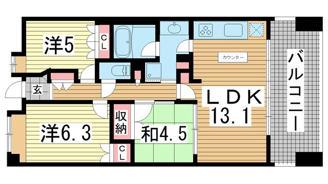 物件番号: 1025835381 アーバネックス三宮磯辺通  神戸市中央区磯辺通1丁目 3LDK マンション 間取り図