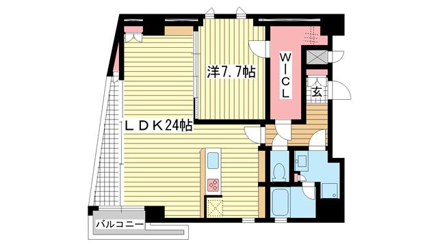 物件番号: 1025835580 NESTY grazia  神戸市中央区琴ノ緒町5丁目 1SLDK マンション 間取り図