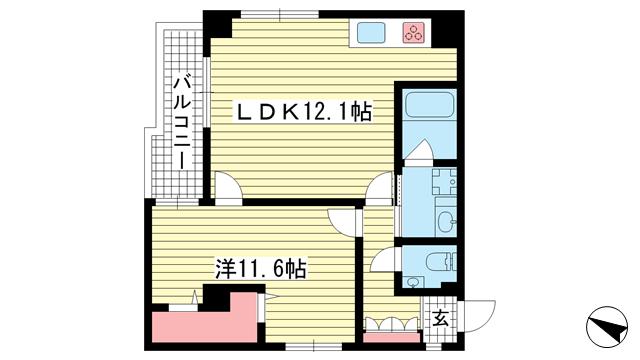 物件番号: 1025835866 アンリーヴ北野  神戸市中央区山本通2丁目 1LDK マンション 間取り図