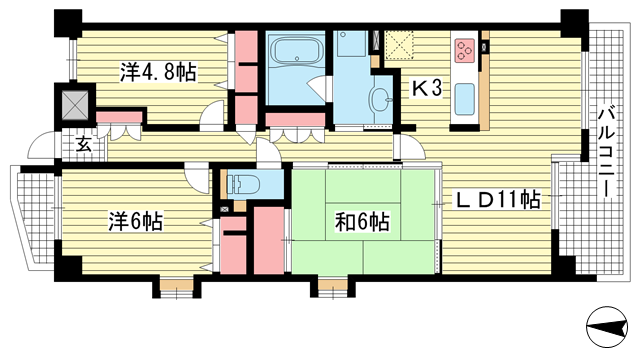 物件番号: 1025836021 エスリード神戸熊内  神戸市中央区熊内町4丁目 3LDK マンション 間取り図
