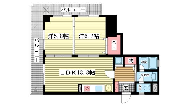 物件番号: 1025836135 神戸中山手ハウス  神戸市中央区中山手通6丁目 2LDK マンション 間取り図