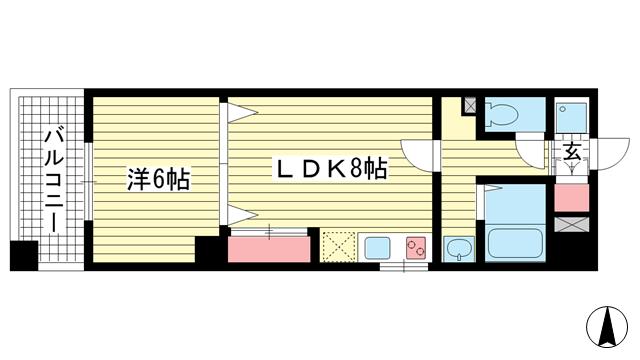 物件番号: 1025836142 富士産業ビル  神戸市中央区中山手通1丁目 1LDK マンション 間取り図