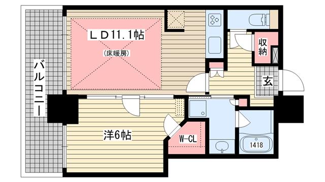 物件番号: 1025836669 ライオンズタワー神戸元町  神戸市中央区栄町通3丁目 1SLDK マンション 間取り図