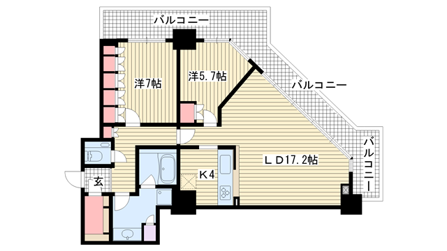 物件番号: 1025837640 アーバンライフ神戸三宮ザ・タワー  神戸市中央区加納町6丁目 2LDK マンション 間取り図