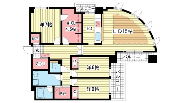物件番号: 1025837656 古満ゲボイデ  神戸市中央区海岸通3丁目 3LDK マンション 間取り図