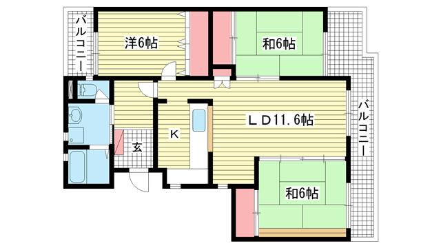 物件番号: 1025838022 ワコーレ赤坂山手  神戸市灘区赤坂通8丁目 3LDK マンション 間取り図
