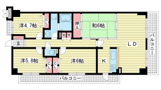 物件番号: 1025838045 ブリックロード・山の手  神戸市中央区下山手通8丁目 4LDK マンション 間取り図