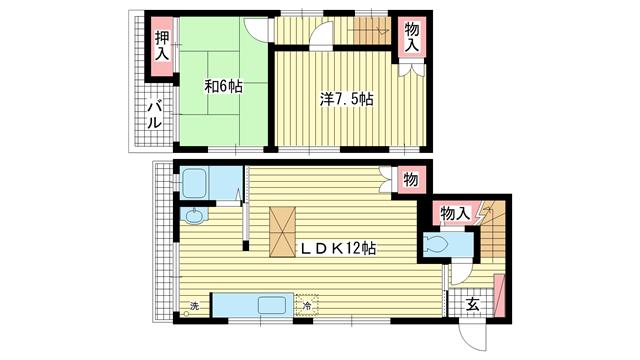 物件番号: 1025838271 山本通4丁目貸家  神戸市中央区山本通4丁目 2LDK 貸家 間取り図