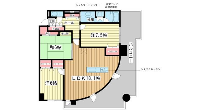 物件番号: 1025838283 インペリアル新神戸  神戸市中央区加納町2丁目 3LDK マンション 間取り図