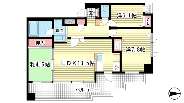 物件番号: 1025838308 プレジール三宮  神戸市中央区加納町2丁目 3LDK マンション 間取り図