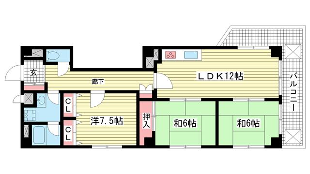 物件番号: 1025838403 ウエストコート1番館  神戸市兵庫区塚本通8丁目 3LDK マンション 間取り図
