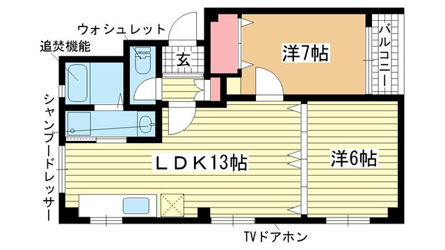 物件番号: 1025839006 カーサフォルツァ  神戸市中央区山本通5丁目 2LDK マンション 間取り図