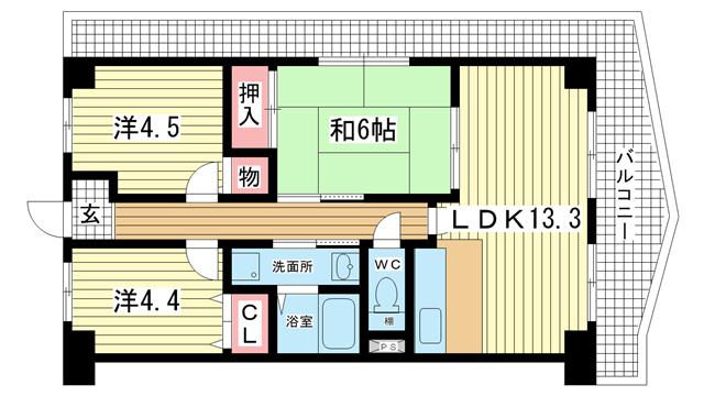 物件番号: 1025839254 リメーン檜  神戸市兵庫区湊町2丁目 3LDK マンション 間取り図