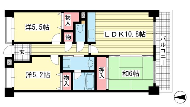 物件番号: 1025839601 グレイスハイツ六甲  神戸市灘区徳井町3丁目 3LDK マンション 間取り図