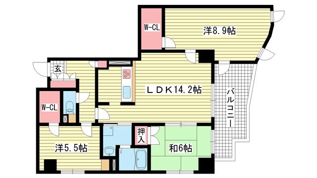 物件番号: 1025839880 古泉ビル あすなろ六甲  神戸市灘区永手町5丁目 3LDK マンション 間取り図