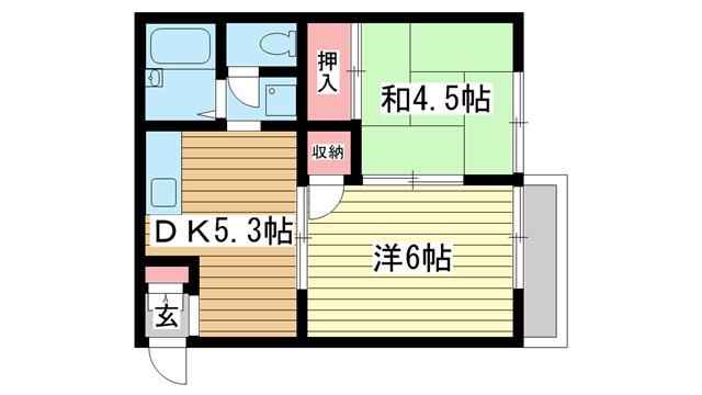 物件番号: 1025839886 ヒルサイド山手  神戸市中央区中山手通7丁目 2DK ハイツ 間取り図