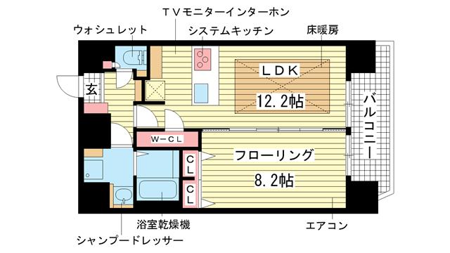 物件番号: 1025839999 プレサンス神戸駅前グランツ  神戸市中央区中町通3丁目 1LDK マンション 間取り図