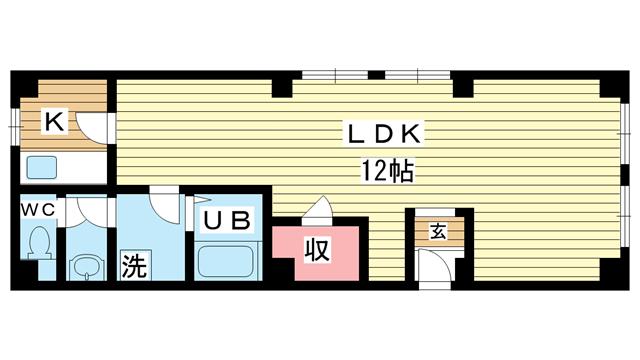 物件番号: 1025840332 ピアーチェ  神戸市兵庫区福原町 1LDK マンション 間取り図
