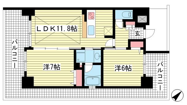 物件番号: 1025840374 エステムプラザ神戸西Ⅴミラージュ  神戸市兵庫区西宮内町 2LDK マンション 間取り図