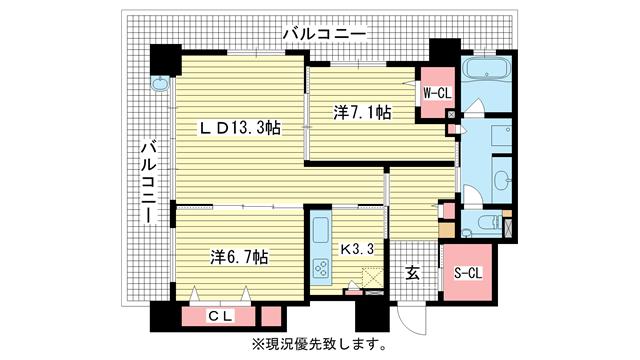 物件番号: 1025840439 エルグレース神戸三宮タワーステージ  神戸市中央区磯上通3丁目 2LDK マンション 間取り図