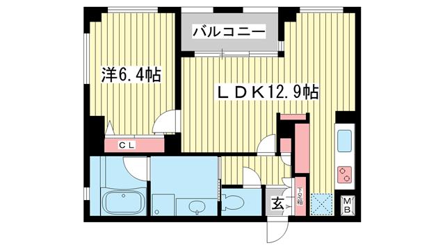 物件番号: 1025840515 ラ・ウェゾン神戸海岸通  神戸市中央区海岸通5丁目 1LDK マンション 間取り図