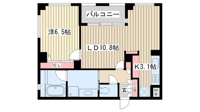 物件番号: 1025840516 ラ・ウェゾン神戸海岸通  神戸市中央区海岸通5丁目 1LDK マンション 間取り図