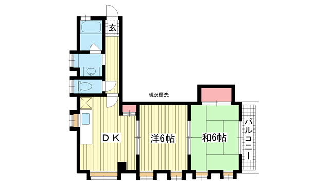 物件番号: 1025840645 オーシャンビル  神戸市中央区筒井町3丁目 2DK マンション 間取り図