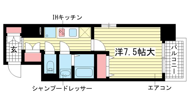 物件番号: 1025840702 フロイデ  神戸市中央区御幸通3丁目 1K マンション 間取り図