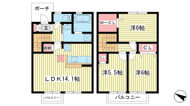 物件番号: 1025840744 レシデンシア  神戸市須磨区多井畑字東所 3LDK テラスハウス 間取り図