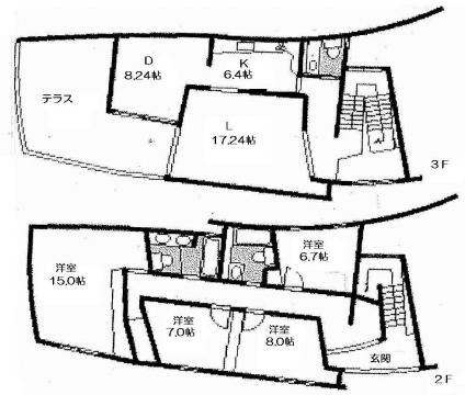 物件番号: 1025840954 OKAMOTO HOUSE  神戸市中央区北野町3丁目 4LDK テラスハウス 間取り図