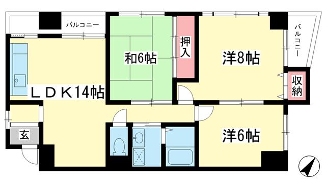 物件番号: 1025840991 エイコースカイハイツ  神戸市中央区中山手通2丁目 3LDK マンション 間取り図