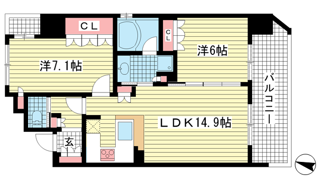 物件番号: 1025841052 リーガル神戸海岸通り  神戸市中央区海岸通4丁目 2LDK マンション 間取り図