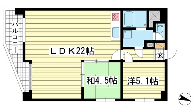 物件番号: 1025841105 甲南サンシティー三宮  神戸市中央区八幡通1丁目 2LDK マンション 間取り図