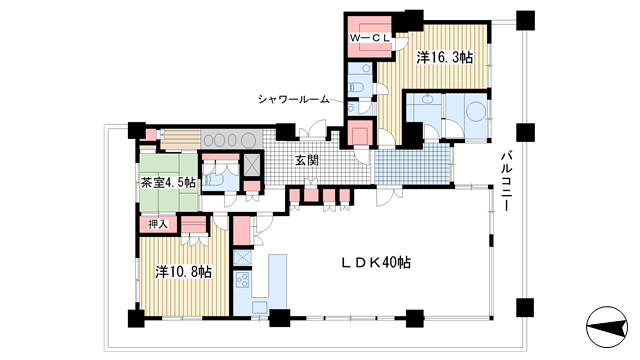 物件番号: 1025841115 ライオンズタワー神戸旧居留地  神戸市中央区伊藤町 3LDK マンション 間取り図