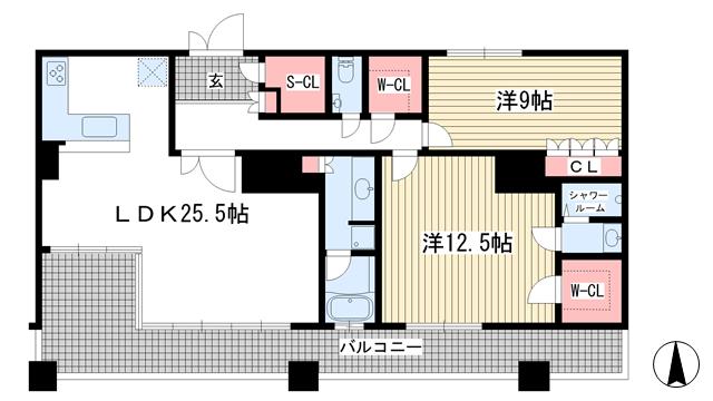 物件番号: 1025841116 ライオンズタワー神戸旧居留地  神戸市中央区伊藤町 2LDK マンション 間取り図