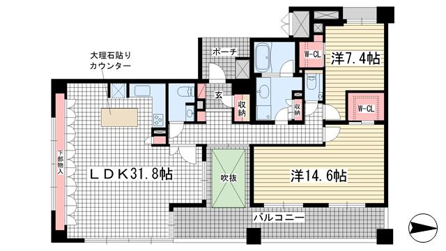 物件番号: 1025841118 ルネ神戸旧居留地109番館  神戸市中央区伊藤町 2LDK マンション 間取り図
