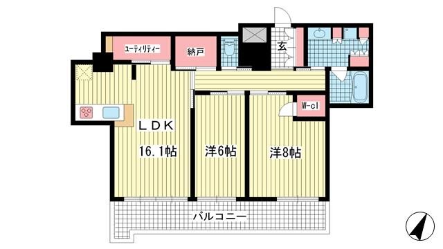 物件番号: 1025841120 ライオンズタワー神戸元町  神戸市中央区栄町通3丁目 2LDK マンション 間取り図