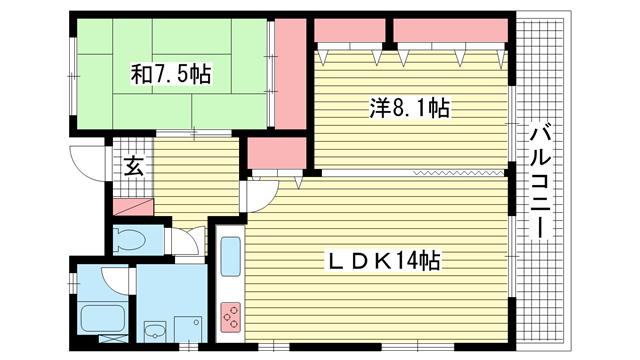 物件番号: 1025841186 コモドカーサ新神戸  神戸市中央区熊内町5丁目 2LDK マンション 間取り図