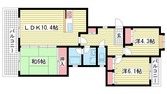 物件番号: 1025841255 シティハイツ諏訪山  神戸市中央区山本通3丁目 3LDK マンション 間取り図